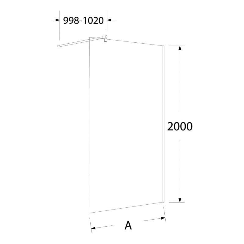 Ścianka / kabina Walk-in 100cm – szkło transparentne 8mm
